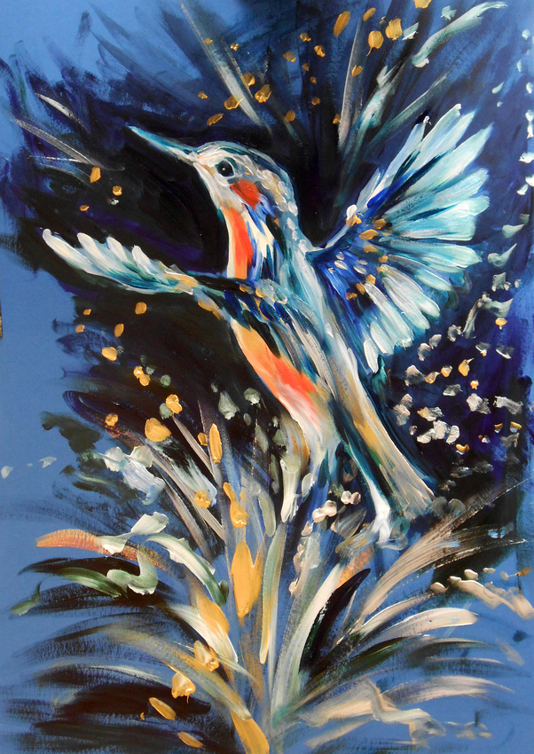 """""""Kingfisher"""" (35 minute speed-painting)"""