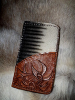 Stunning Stingray Hide and Leather Phone Case, with Pocket.