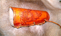 Carved Archery Arm Guard with cow suede Lined.
