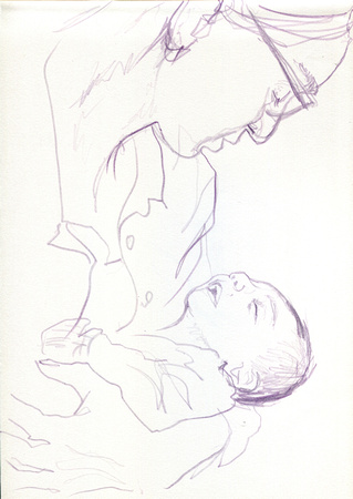Mother and Newborn Child - 3 Minute Life Sketch