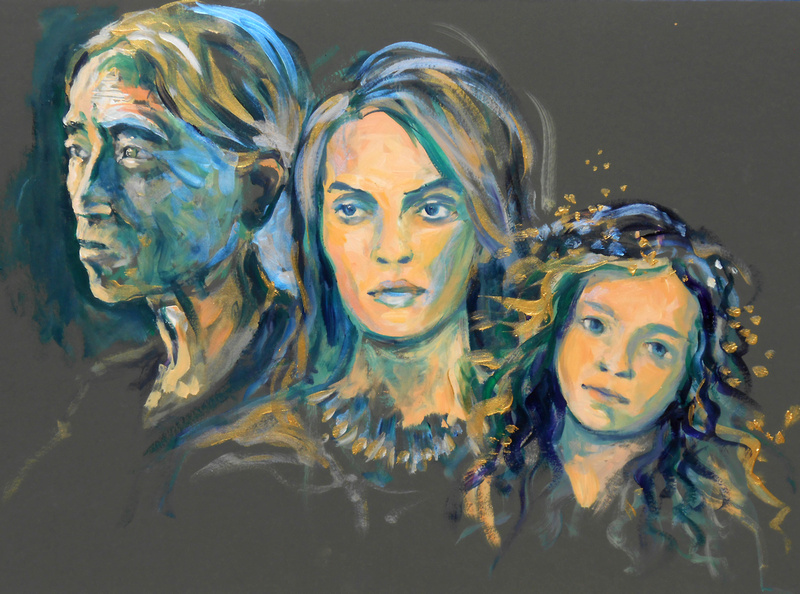 Three Ages of Woman - - 2 hour speed-acrylics sketch