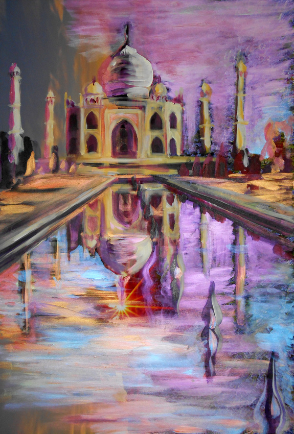 Taj Mahal - Reflections in Lavender, 1 hour speed-painting