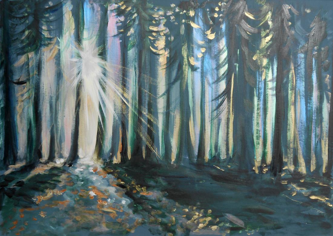 Woodland Sunburst (40 minutes speed-painting)