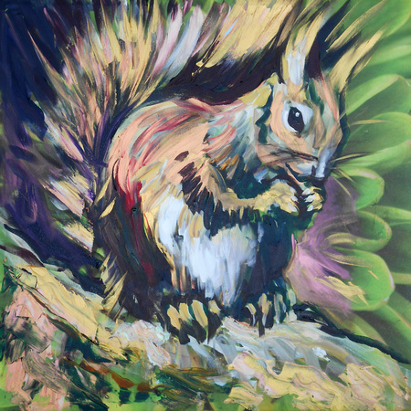 Red Squirrel 25 mins speed-painting over existing canvas